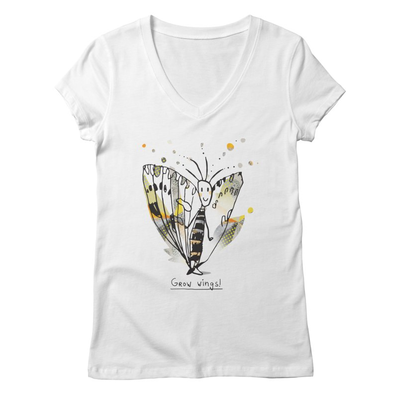 Creative Bug Women's Regular V-Neck by Lill Print Store