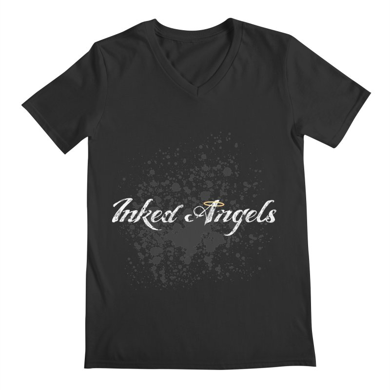 Inked Angels Splatter Men's Regular V-Neck by Inked Angels' Store