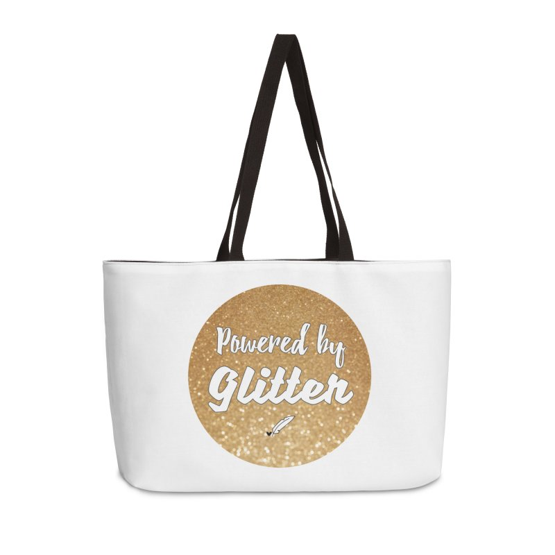 Powered by Glitter Accessories Weekender Bag Bag by Inkie Quill Shop