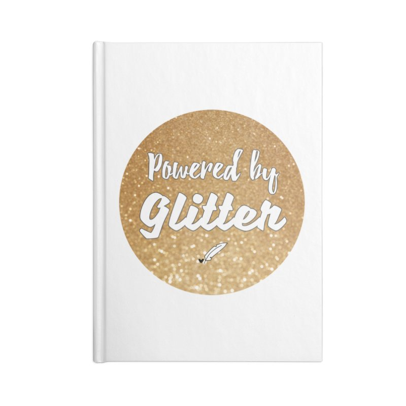 Powered by Glitter Accessories Blank Journal Notebook by Inkie Quill Shop