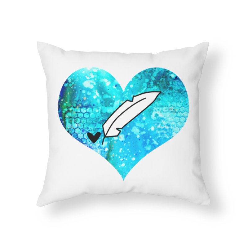 I Heart Inkie - Blue Home Throw Pillow by Inkie Quill Shop