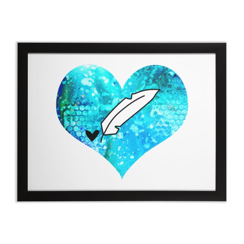 I Heart Inkie - Blue Home Framed Fine Art Print by Inkie Quill Shop
