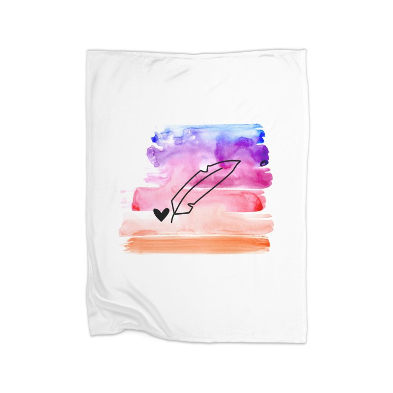 Coloured Ink Home Fleece Blanket Blanket by Inkie Quill Shop