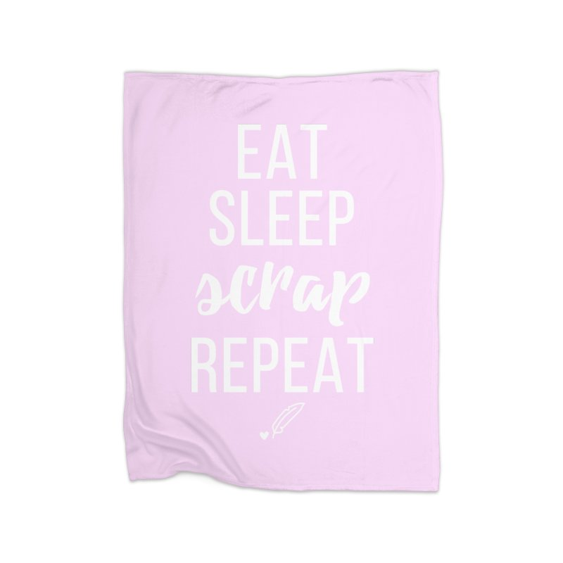 Eat Sleep Scrap Repeat Home Fleece Blanket Blanket by Inkie Quill Shop