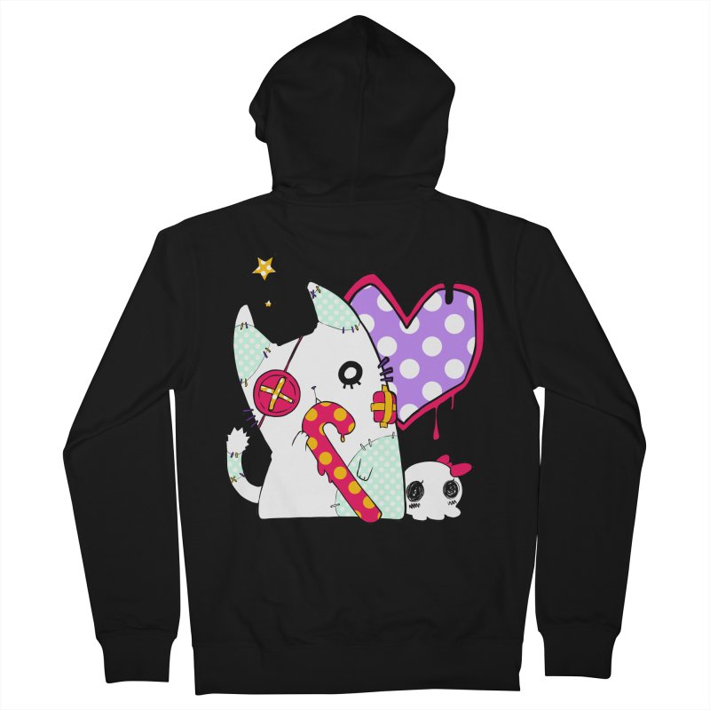 Ghost Cat (Color) Women's French Terry Zip-Up Hoody by Inma's store