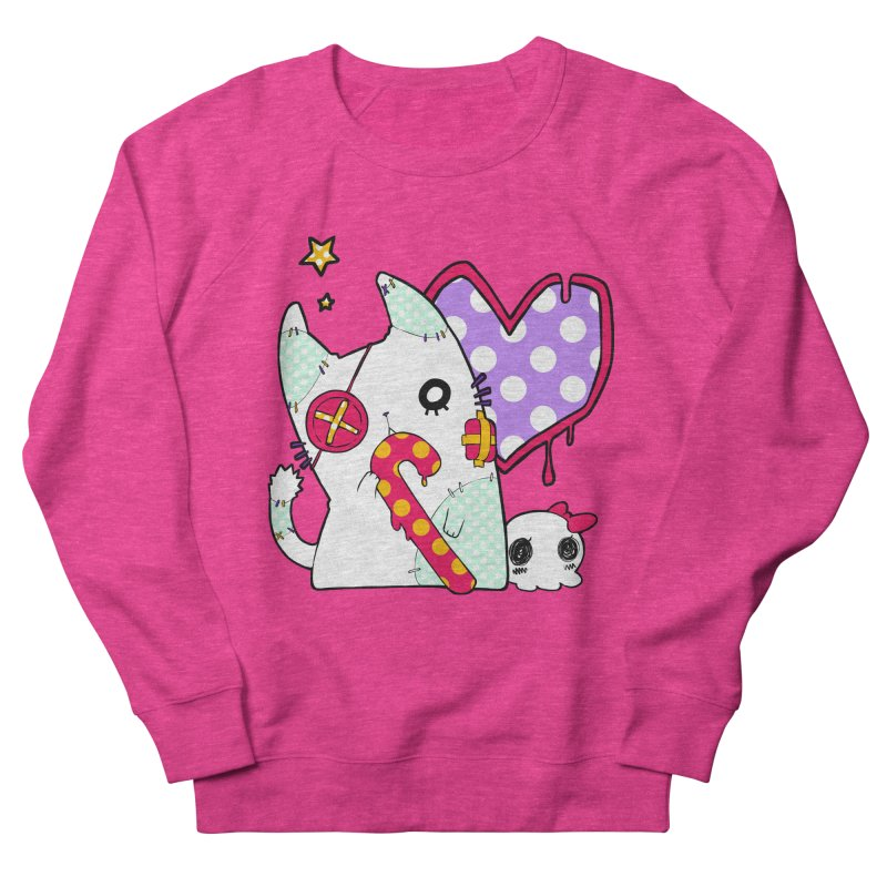 Ghost Cat (Color) in Women's French Terry Sweatshirt Heather Heliconia by Inma's store
