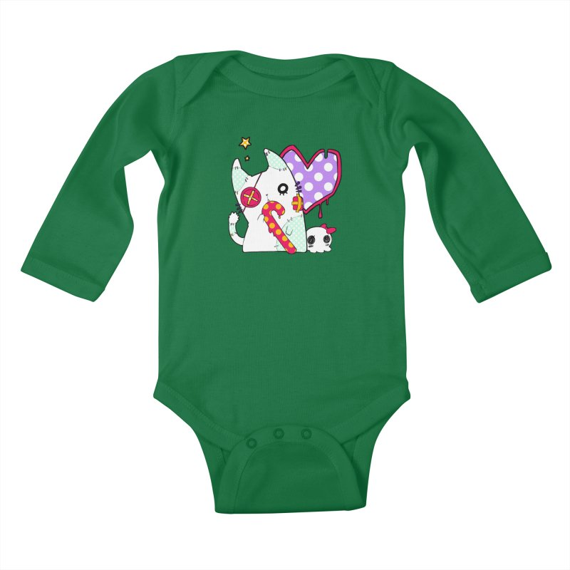 Ghost Cat (Color) Kids Baby Longsleeve Bodysuit by Inma's store