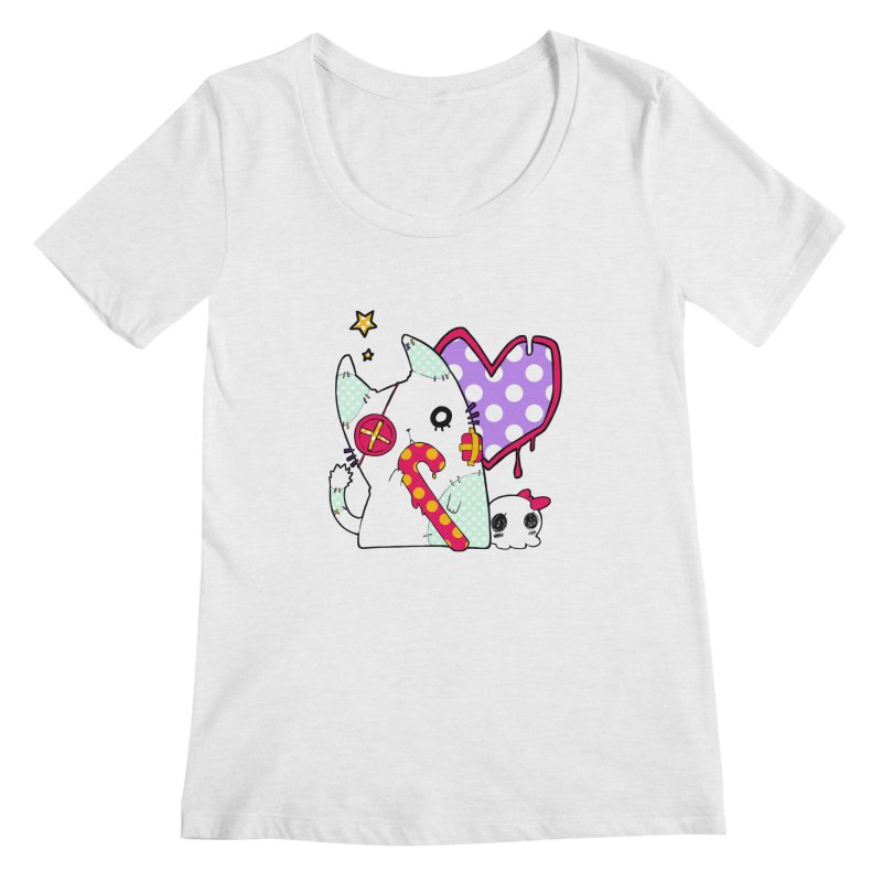 Ghost Cat (Color) Women's Scoopneck by Inma's store