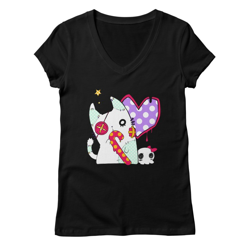 Ghost Cat (Color) Women's V-Neck by Inma's store