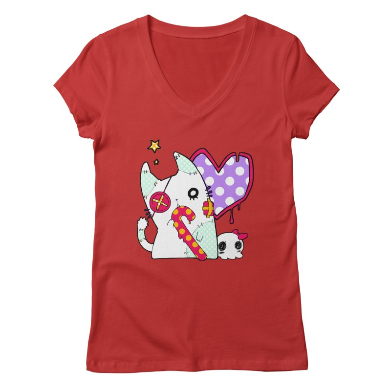 Ghost Cat (Color) Women's Regular V-Neck by Inma's store