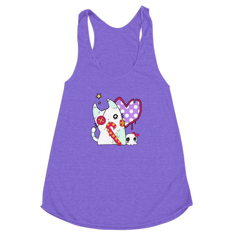 Ghost Cat (Color) Women's Racerback Triblend Tank by Inma's store