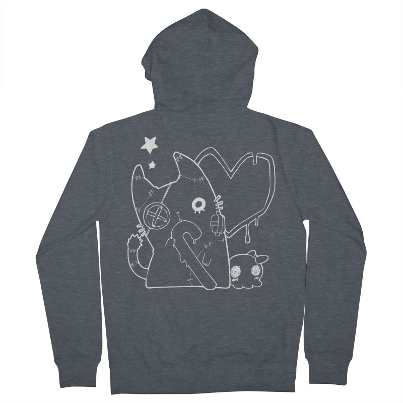 Ghost Cat (White) Women's French Terry Zip-Up Hoody by Inma's store