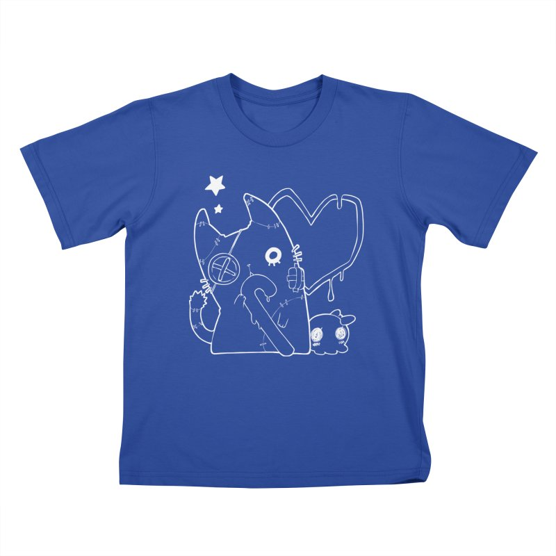 Ghost Cat (White) Kids T-Shirt by Inma's store