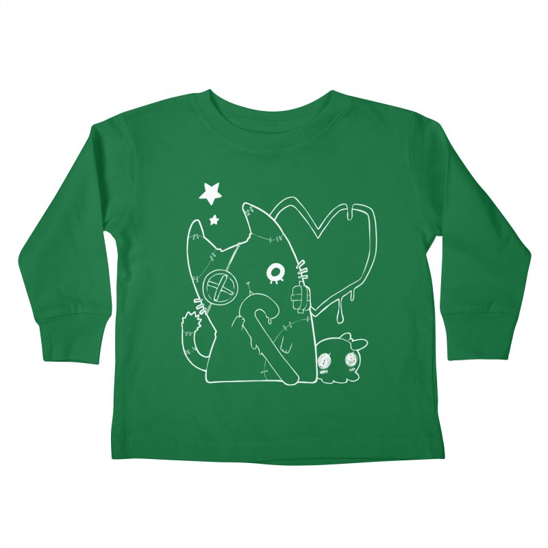 Ghost Cat (White) Kids Toddler Longsleeve T-Shirt by Inma's store