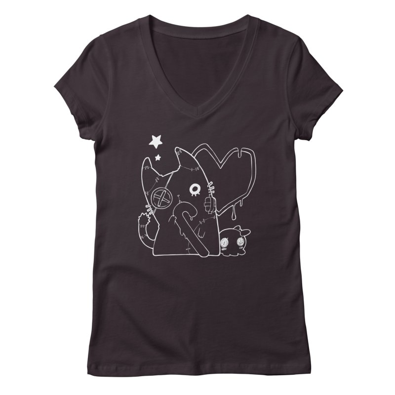 Ghost Cat (White) Women's V-Neck by Inma's store