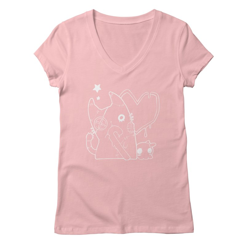 Ghost Cat (White) Women's Regular V-Neck by Inma's store