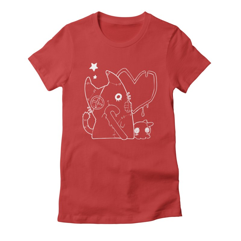 Ghost Cat (White) Women's Fitted T-Shirt by Inma's store