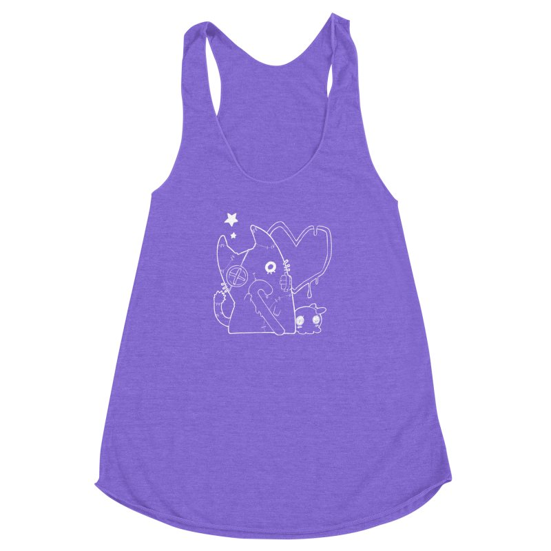 Ghost Cat (White) Women's Racerback Triblend Tank by Inma's store