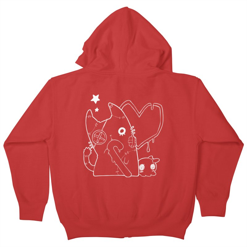 Ghost Cat (White) Kids Zip-Up Hoody by Inma's store