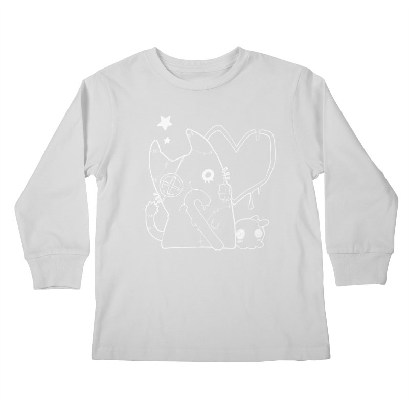 Ghost Cat (White) Kids Longsleeve T-Shirt by Inma's store