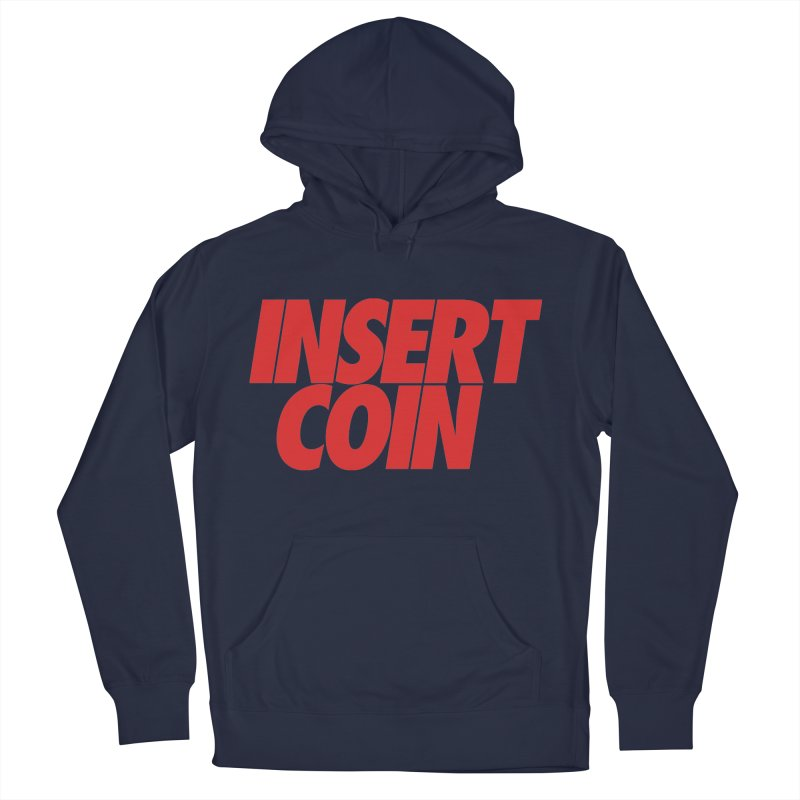 INSERT COIN RED LOGO in Men's French Terry Pullover Hoody Navy by Insert Coin's Shop Of 90s Arcade Awesomeness