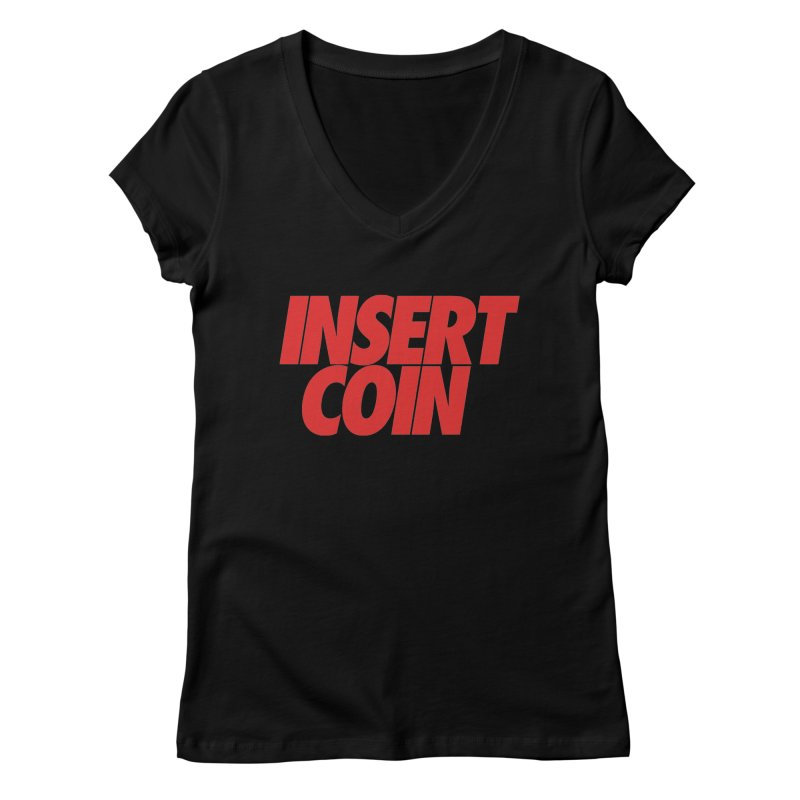 INSERT COIN RED LOGO Women's Regular V-Neck by Insert Coin's Shop Of 90s Arcade Awesomeness