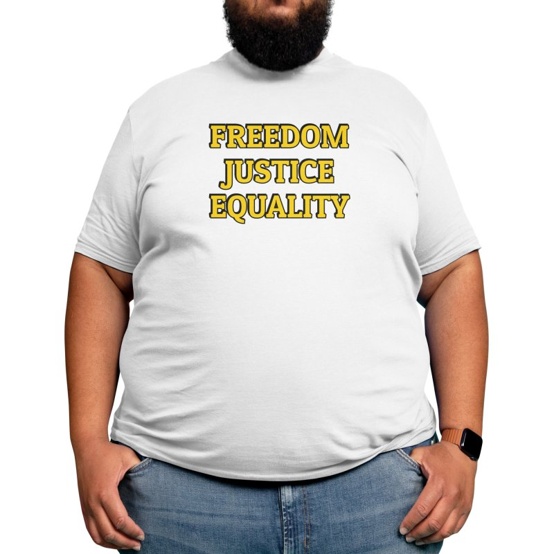 FREEDOM JUSTICE EQUALITY yellow Men's T-Shirt by Inspire Me Artist Shop