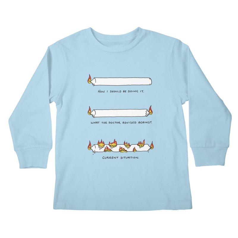 Burning That Candle. Kids Longsleeve T-Shirt by Prinstachaaz