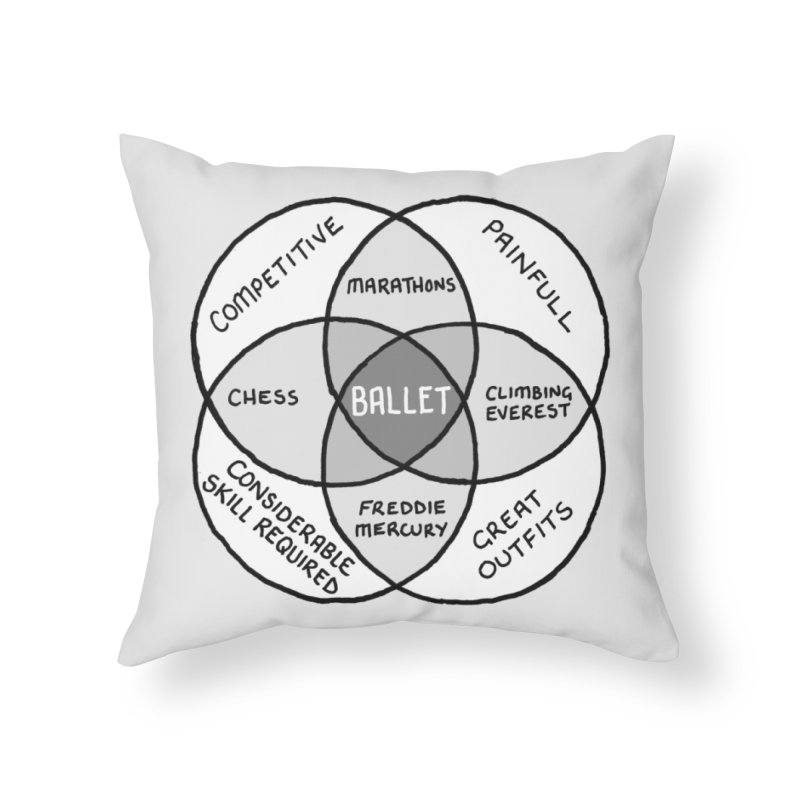 BALLET Home Throw Pillow by Prinstachaaz