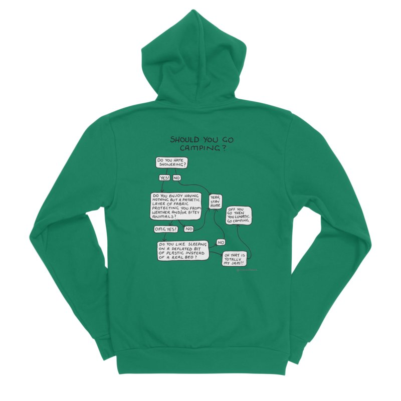 Should You Go Camping? Men's Sponge Fleece Zip-Up Hoody by Prinstachaaz