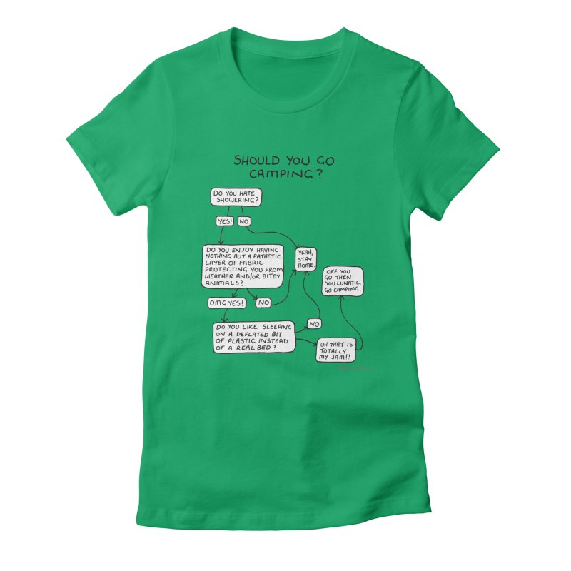 Should You Go Camping? Women's Fitted T-Shirt by Prinstachaaz
