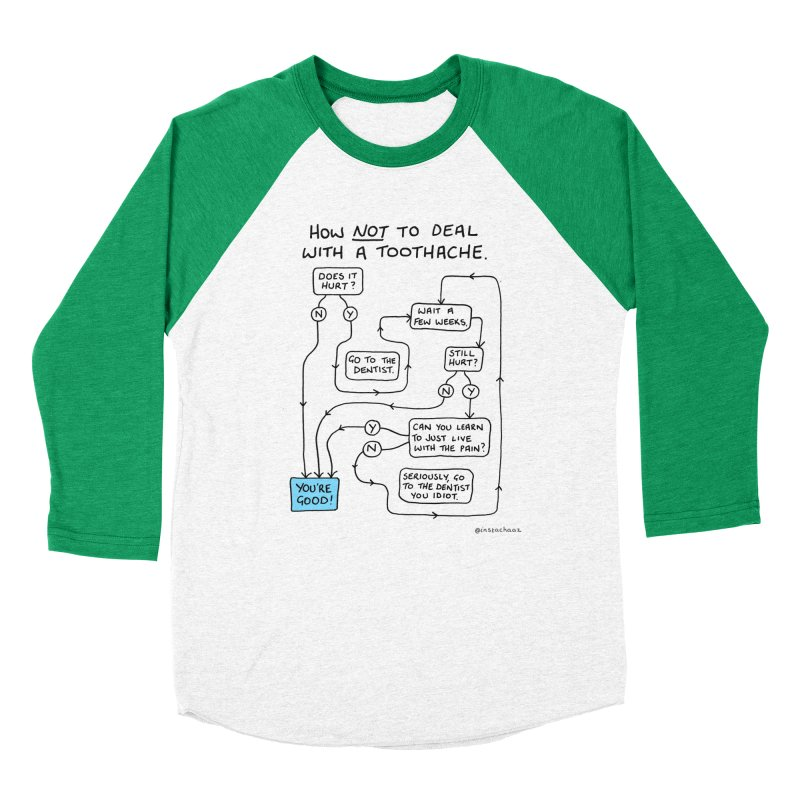 Toothache Comic (For The Dentist Waiting Rooms) Men's Baseball Triblend Longsleeve T-Shirt by Prinstachaaz