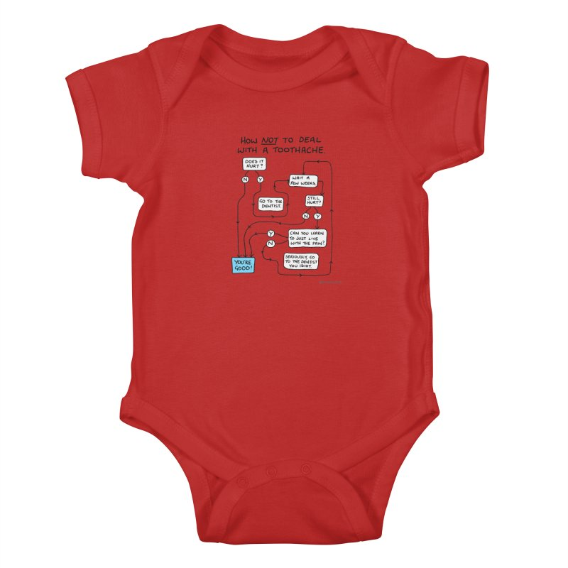 Toothache Comic (For The Dentist Waiting Rooms) Kids Baby Bodysuit by Prinstachaaz