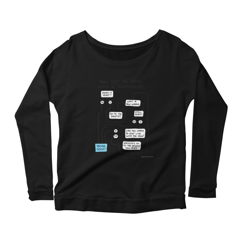 Toothache Comic (For The Dentist Waiting Rooms) Women's Scoop Neck Longsleeve T-Shirt by Prinstachaaz