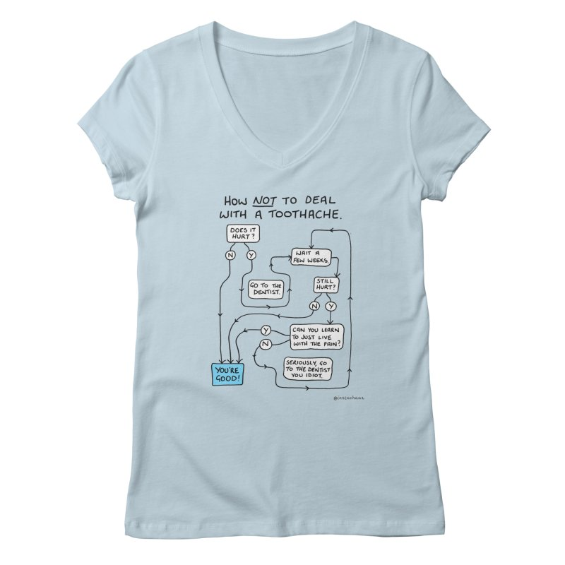 Toothache Comic (For The Dentist Waiting Rooms) Women's Regular V-Neck by Prinstachaaz