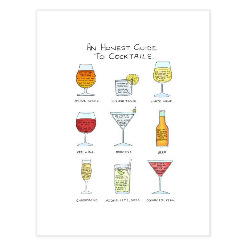 An Honest Guide to Cocktails Home Fine Art Print by Prinstachaaz
