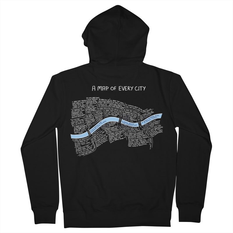 A Map of Every City - (w Black Background.) Women's Zip-Up Hoody by Prinstachaaz