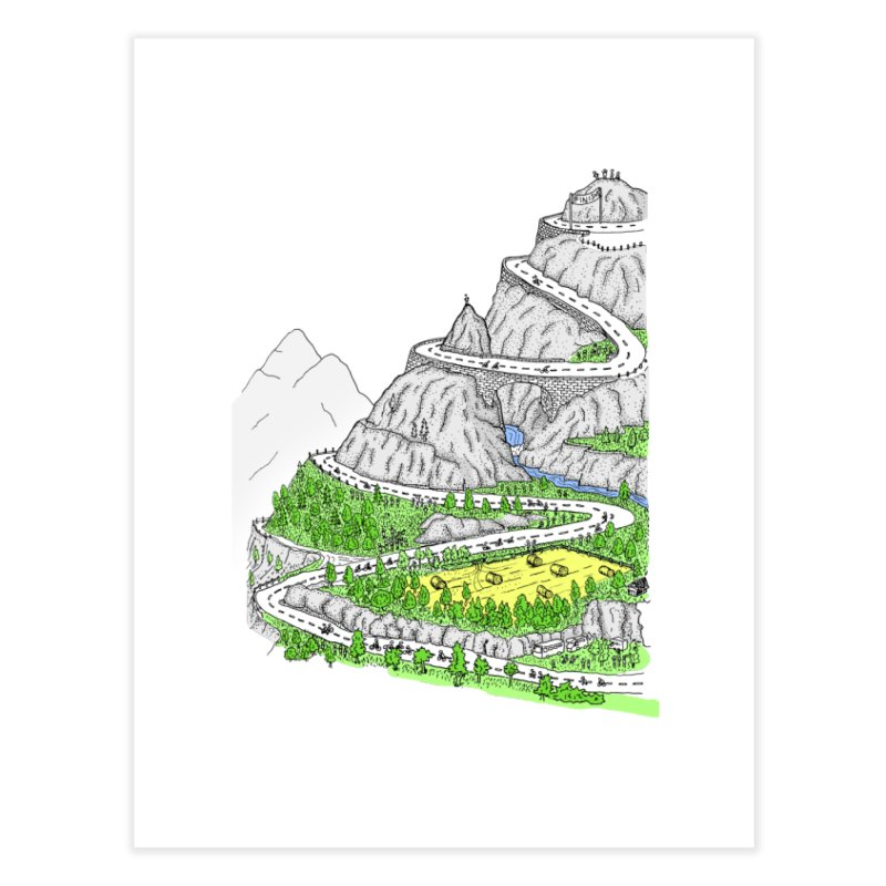 Mountain Top Home Fine Art Print by Prinstachaaz
