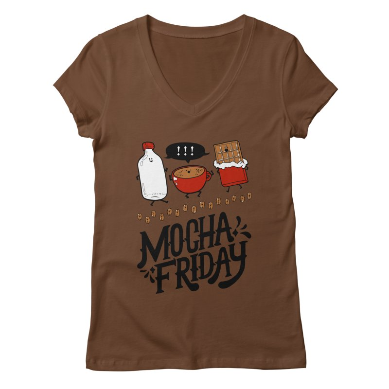 Mocha Friday Women's Regular V-Neck by Taylor's Internet Country Store