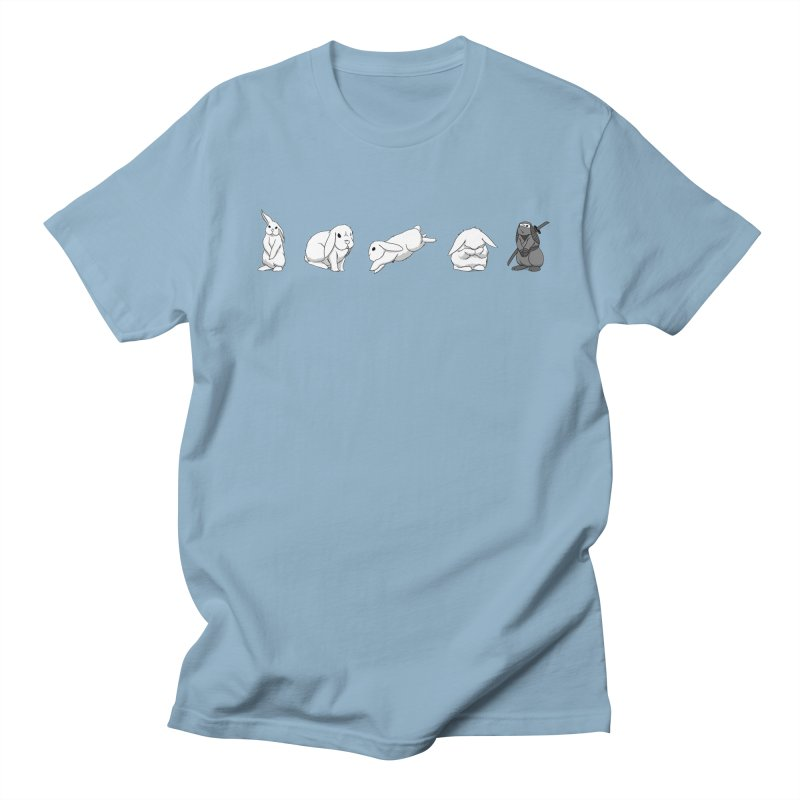 Bunnies! in Men's Regular T-Shirt Light Blue by In the Year of the Rabbit Shop