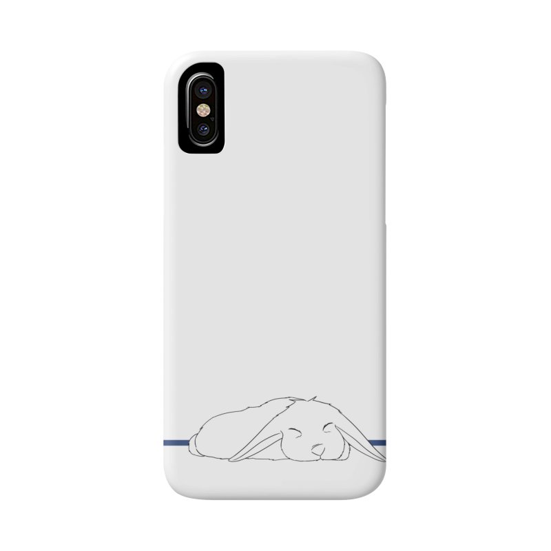 Sleepy Bunny (horizontal) in iPhone X / XS Phone Case Slim by In the Year of the Rabbit Shop