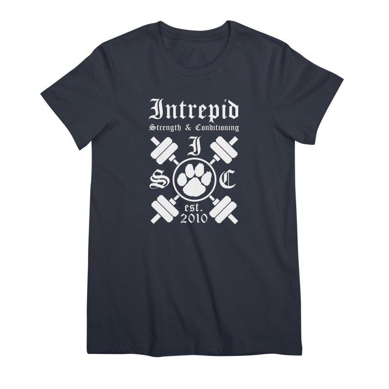 Intrepid with barbells Women's Premium T-Shirt by Intrepid CF Warwick's Artist Shop
