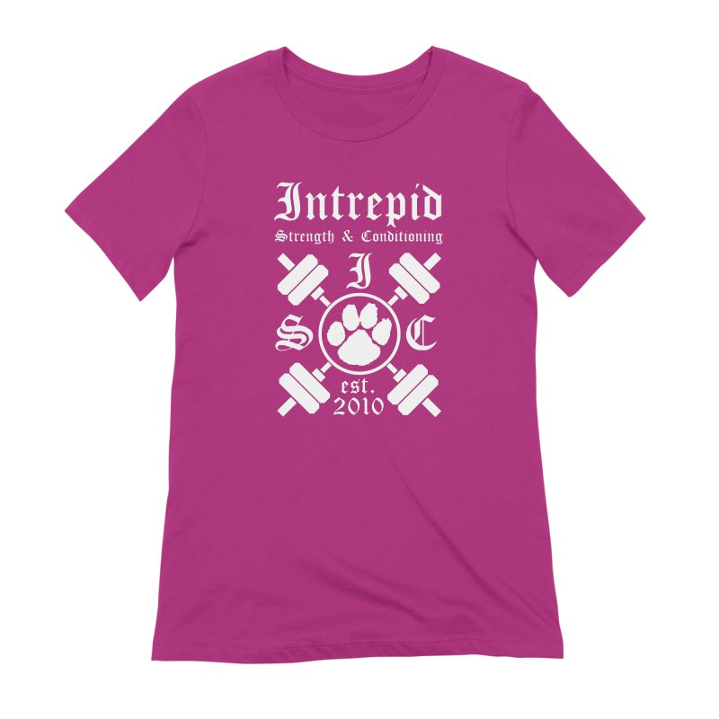 Intrepid with barbells Women's Extra Soft T-Shirt by Intrepid CF Warwick's Artist Shop