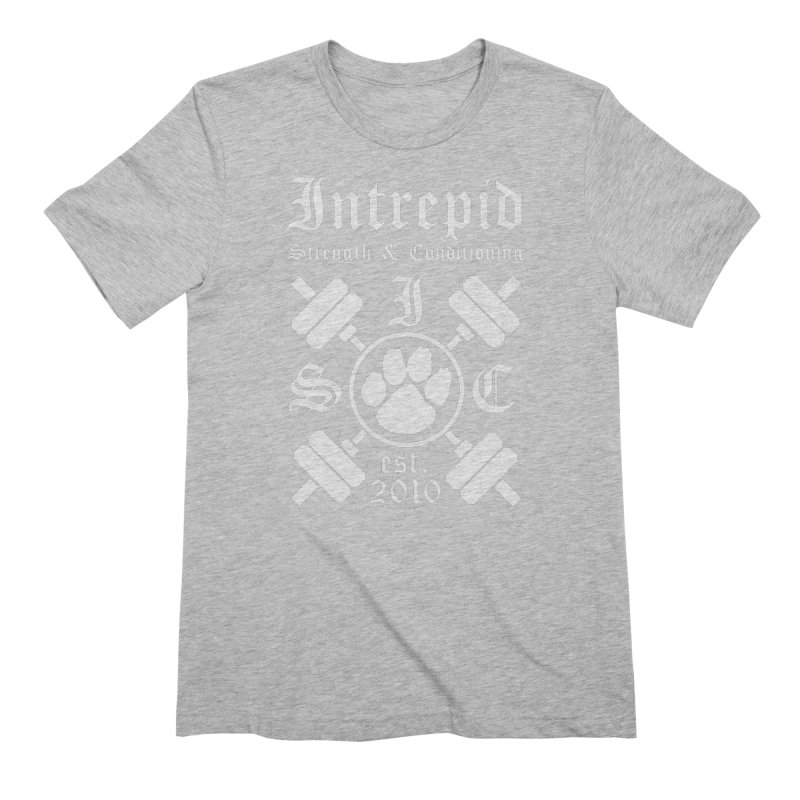 Intrepid with barbells Men's Extra Soft T-Shirt by Intrepid CF Warwick's Artist Shop