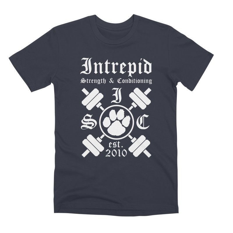 Intrepid with barbells Men's Premium T-Shirt by Intrepid CF Warwick's Artist Shop