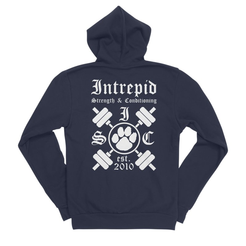 Intrepid with barbells Women's Sponge Fleece Zip-Up Hoody by Intrepid CF Warwick's Artist Shop