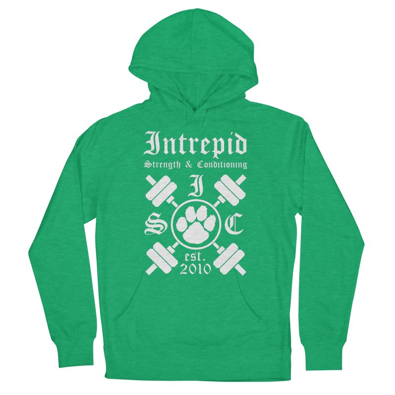 Intrepid with barbells Women's French Terry Pullover Hoody by Intrepid CF Warwick's Artist Shop