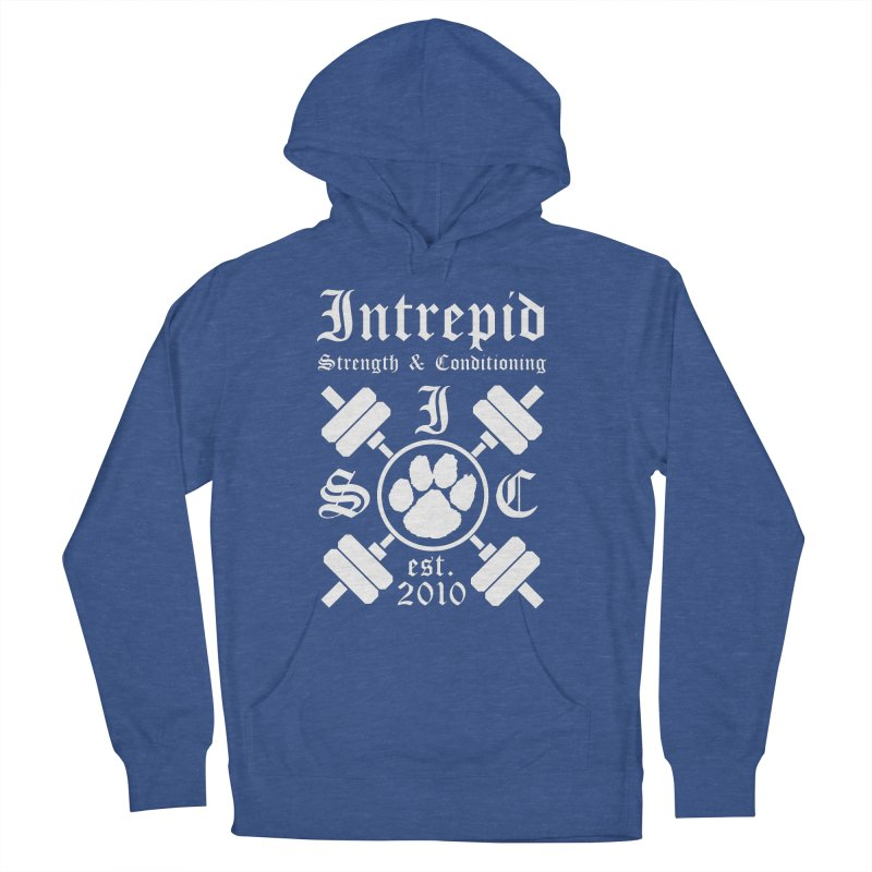 Intrepid with barbells Men's French Terry Pullover Hoody by Intrepid CF Warwick's Artist Shop