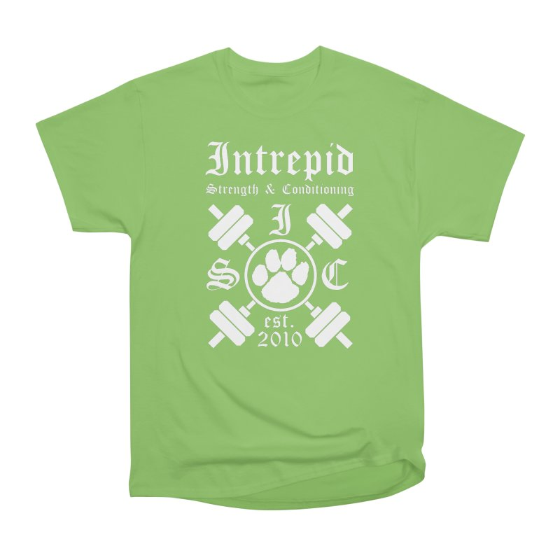 Intrepid with barbells Women's Heavyweight Unisex T-Shirt by Intrepid CF Warwick's Artist Shop