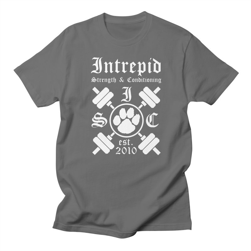 Intrepid with barbells Men's Regular T-Shirt by Intrepid CF Warwick's Artist Shop
